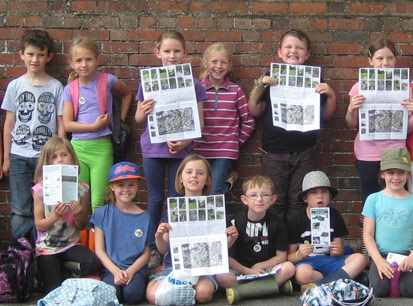 MayfieldCEP wellywalk class with leaflet closeup