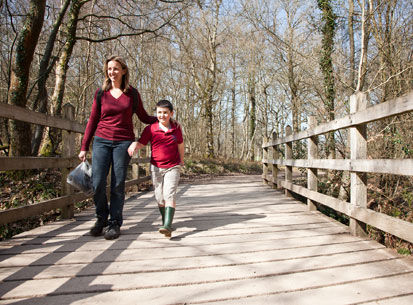 walking family pooh bridge