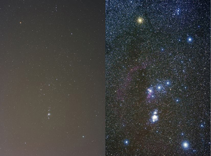 Dark skies light pollution Orion